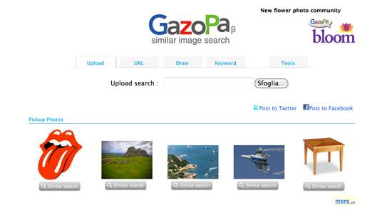 Gazopa: motore di ricerca immagini
