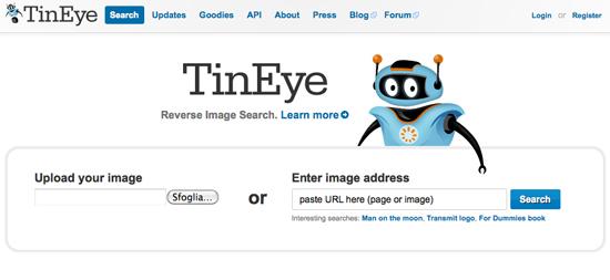tineye: motore di ricerca immagini