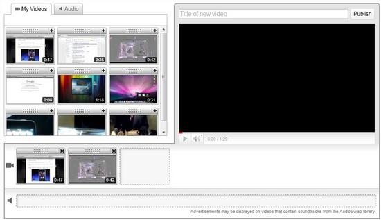 Interfaccia grafica di YouTube video editor