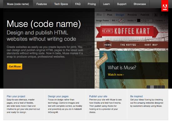 adobe muse Nome in codice MUSE | strumento grafico codeless