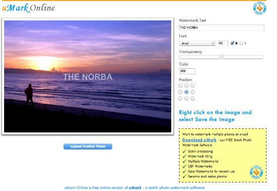 Come aggiungere watermark alle immagini con uMark Online